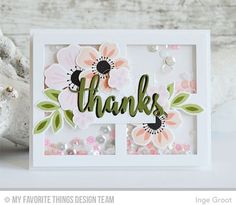 12/5/16.  Handmade card from Inge Groot featuring Flashy Florals stamp set and Die-namics, Thanks & Hello and Gift Box Cover-Up Die-namics #mftstamps