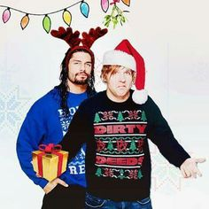 Roman Reigns and Dean Ambrose getting in the Christmas Spirit