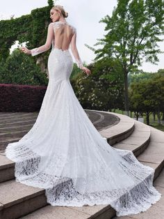 Tbdress.com offers high quality Long Sleeves Open Back Lace Sweetheart Mermaid Wedding Dress Latest Wedding Dresses unit price of $ 225.99.