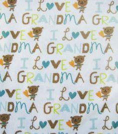 Snuggle Flannel Fabric-I Love Grandma Blue