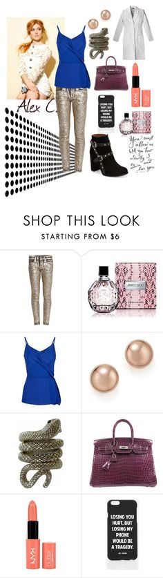 """alex."" by leticiatedesco ❤ liked on Polyvore featuring Dondup, Jimmy Choo, Jaeger, Bloomingdale's, CO, Hermès, Jac Vanek and Topshop"