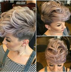 Long pixie hairstyles are a beautiful way to wear short hair. Many celebrities are now sporting this trend, as the perfect pixie look can be glamorous, elegant and sophisticated. Here we share the best hair styles and how these styles work. Hair Color Pink, Pink Hair, Pixie Hair Color, Cabelo Rose Gold, Popular Short Haircuts, Pixie Hairstyles, Hairstyles 2018, Faux Hawk Hairstyles, 2018 Haircuts