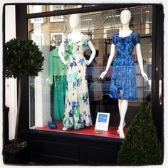 Left Mannequin, Stunning 1970's Pierre Balmain Dress.  Right Mannequin, Stunning 1950's Jean Allen Blue Dress