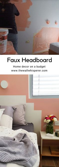 home accents on a budget Simple DIY quot;how toquot; tutorial for a cheap white headboard over a pink accent bedroom wall. Faux Headboard, White Headboard, Headboard Ideas, Home Design, Modern Design, Design Ideas, Pink Accents, Home Accents, Home Interior