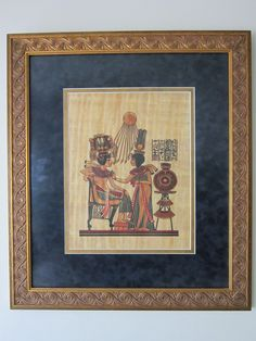 """Large Framed Egyptian Papyrus Painting """"Akhenaten and Nefertiti"""" * Custom Framed and Matted Egyptian Papyrus 24 3/4"""" H x 21 1/2"""" W by RainbowConnection15 on Etsy"""