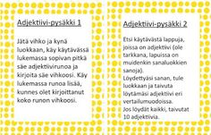 Adjektiivipysäkki 1-2. Grammar, Literacy, Periodic Table, Literature, Language, Classroom, Teaching, Activities, Writing
