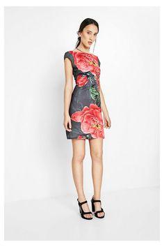 06ff013e1a71 Desigual khaki šaty Sharyky s růžemi - Dámské Šaty