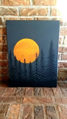 """Items similar to Canvas Art Painting """"the big moon"""", handmade by me! on Etsy Simple Canvas Paintings, Easy Canvas Art, Small Canvas Art, Easy Canvas Painting, Mini Canvas Art, Easy Paintings, Spray Painting, Painting Art, Easy Painting For Kids"""