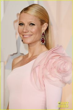 Gwyneth Paltrow Has a Giant Shoulder Flower at Oscars 2015 via Just Jared