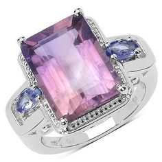 6.99 Carat Genuine Amethyst & Tanzanite .925 Sterling Silver Ring