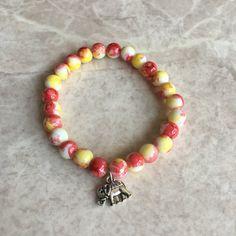 Tie dye orange yellow beaded bracelet with by CraftsbylizzyCo  Handmade | Diy