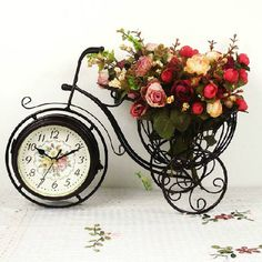 Clock wrought iron bicycle clock personalized rustic clock(China (Mainland))