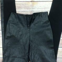 "Zara half faux leather leggings Zara half faux leather leggings  polyester polyurethane viscose and elastin blend  side zip 28"" inseam 10"" rise  24"" elastic waist 30"" hips Zara Pants Leggings"