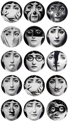 "Just got my first Fornasetti plate!  The ""tribal"" one (of course) in the top right. Would love to get the first one in the second row to keep it company..."