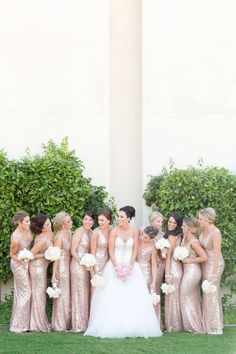We're sharing five our best tips from our fool-proof system for how to shoot a large bridal party! • Wedding Photography tips • Gold, floor-length bridesmaids dresses