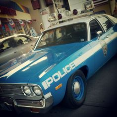 1974 NYPD  CAR  at the gas station so cool