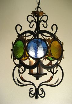 Vintage Gothic Wrought Iron Chandelier Italian/Spanish by jrp1943