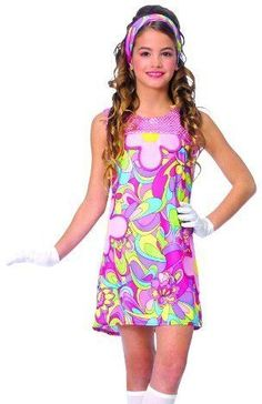 Kids+Halloween+Costume+60s+70s+Disco+Go+Dress+Outfit+Franco