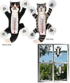 Not only would these be helpful and fun, they'd probably keep my indoor-only cats occupied.  --  Clinging Kitty Outdoor Thermometer