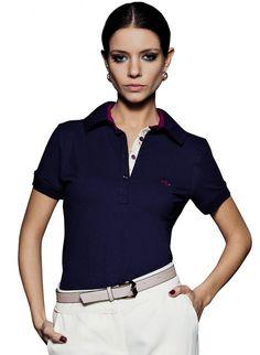 Camisa Polo Feminina · blusa polo feminina marinho principessa mariane  Blusa Polo Feminina, Mulher Elegante, Azul Marinho, 616e147eed