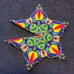 Magical Flower Peyote Star Beading Pattern - Beaded Star Patterns - DIY Christmas Ornament Bead Pattern - Colorful Bead Weaving Patterns Beading Patterns inspired by art and ethnic от TheTalesOfBeads Bead Embroidery Patterns, Bead Crochet Patterns, Peyote Patterns, Star Patterns, Beaded Embroidery, Beading Patterns, Knitting Patterns, Jewelry Patterns, Mosaic Patterns