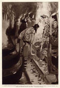 Marchesa Luisa Casati, in Arlecchino Bianco costume greetings guests - c. 1913 - by Manuel Orazi