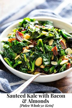 This delicious and simple sautéed kale with bacon and almonds is a savory healthy side dish that you'll want on repeat! It's paleo and Whole30 friendly, keto, and Low FODMAP. Serve it with any main course to add lots of flavor and nutrients to your meal. #cleaneating #keto #whole30 #paleo #lowfodmap Veggie Side Dishes, Healthy Side Dishes, Side Dish Recipes, Crispy Sweet Potato, Sweet Potato Kale, Low Fodmap Vegetables, Garlic Mashed Cauliflower, Sugar Free Bacon