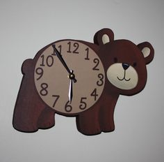 Brown Bear Woodland Forest Friends Animal Wooden WALL CLOCK Kids Bedroom Baby Nursery. $45.00, via Etsy.
