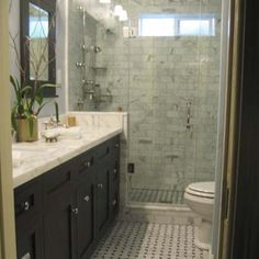 Pretty bathroom with marble subway tiles