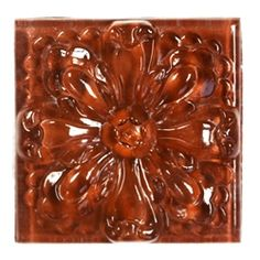 Glass Tile Relief Deco - 4 X 4 Large Glass Flower Deco - 4X4 Decorative Glass Insert - Rust - Glossy