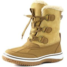Women's DailyShoes Lace Up Ankle High Mid Calf Artic Warm Fur Water Resistant Eskimo Snow Boots, 8 *** More info could be found at the image url.