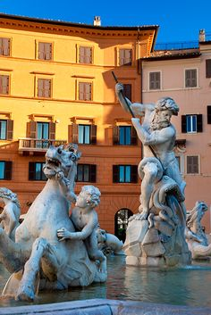 Neptune Fountain at Piazza Navona, Rome Italy