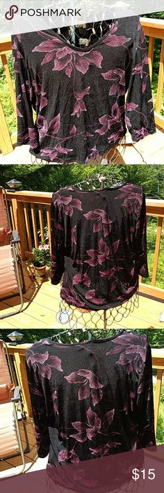 BRIGGS OF NEW YORK Love the Pink on Black the Floral design is stunning against the Black background 💞💞 Stretch fabric makes it comfortable also has 3/4 sleeves . Questions please ASK. Thanks for checking out my closet. I also offer discounts bundles 💗💗 BRIGGS NEW YORK Tops Blouses