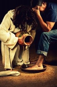 """After that, he poured water into a basin and began to wash his disciples' feet, drying them with the towel that was wrapped around him.""  (John 13:5)"