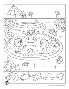 Swimming Pool Summer Hidden Pictures Page Activity Sheets For Kids, Printable Activities For Kids, Preschool Activities, Summer Coloring Pages, Coloring For Kids, Colouring Pages, Summer Worksheets, Worksheets For Kids, Highlights Hidden Pictures
