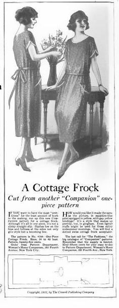 The Closet Historian: Make Your Own 1 Hour Dress: Step The Pattern Source by msfifield fashion dress Vintage Sewing Patterns, Clothing Patterns, Dress Patterns, 1920 Outfits, Vintage Outfits, Vintage Clothing, 1920s Clothing, Vintage Dress, 1920s Dress Pattern