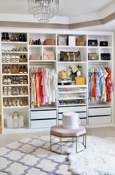 I am SO excited to share with you the reveal of my incredible custom closet by Closet Factory. Bedroom Closet Design, Closet Designs, Bedroom Decor, Dream Closets, Dream Rooms, Open Closets, Stand Alone Closet, Exposed Closet, Dressing Room Design