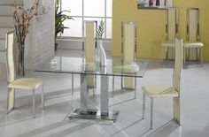 Improve the seating capacity of your dining room while enhancing the beauty of your home interiors with this Ankara Large Dining Table in Clear Glass with 4 Chairs. The Gorgeous Ankara Large rectangular Clear glass dining table with clear glass base comes with 4 Trinity Chrome PU Chairs will truly make any dining room more pleasing to the eye.