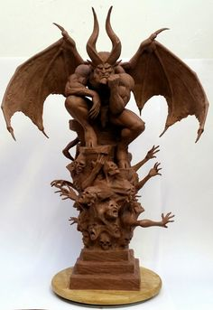 Monster Clay sculpt based on artwork by Simon Bisley& Paradise Lost Dark Fantasy Art, Dark Art, Gothic Gargoyles, Gargoyle Tattoo, Traditional Sculptures, Anatomy Poses, Poses References, 3d Prints, Sculpture Clay