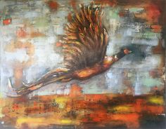 """""""When pheasant flying in the sky"""" - Size: 70 x 90 cm"""