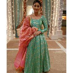 Designer anarkali dresses - Green Color Banarasi Gown with Heavy Banarasi Dupatta by www mongoosekart com Indian Gowns Dresses, Brocade Dresses, Indian Fashion Dresses, Dress Indian Style, Indian Designer Outfits, Indian Outfits, Brocade Suits, Indian Attire, Indian Wear