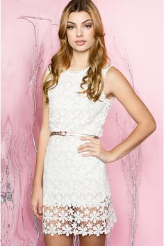 white daisy crochet lace dress
