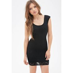 FOREVER 21 Crochet Overlay Bodycon Dress