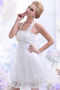 A Line Ivory Short Mini Halter Organza Wedding Dress B12155