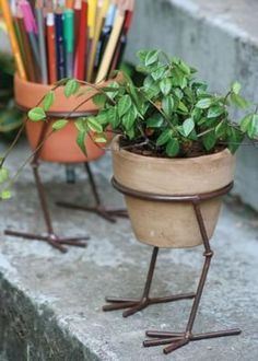 Crafted from hand forged iron metal. Our adorable Bird Leg Pot Holder comes in a rustic finish. Sturdy feet hold a round pot of your favorite flowers. x Chambers Chambers McFarren Welding Art, Welding Projects, Welding Tools, Welding Ideas, Welding Crafts, Diy Tools, Diy Projects, Blacksmith Projects, Woodworking Projects
