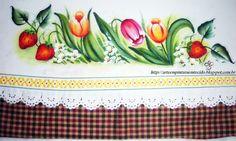 pintura em tecido pano de prato flores e frutas