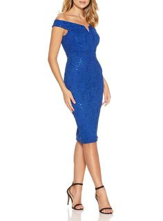 *Quiz Blue Sequin Lace Bardot Midi Dress - View All Dresses - Dresses - Dorothy Perkins United States