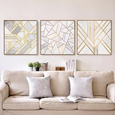 Picture wall Minimalist - Abstract Geometric Canvas Painting Grey Gold Red Nordic Posters Wall Art Picture Living Room Home Decor Unframed Drop Shipping.
