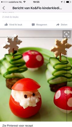 Those cucumber trees (with sausage stump and cheese snowflake topper) are just precious!!!