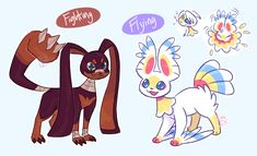 Fan Eeveelutions: Fighting and Flying by Fumi-LEX